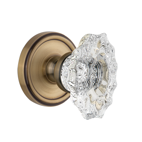 Grandeur Barriatz Crystal Door Knob Set with Georgetown Rose Vintage Brass