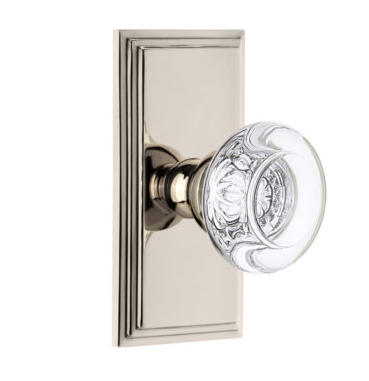 Grandeur Bordeaux Crystal Door Knob Set with Carre Short Plate Polished Nickel