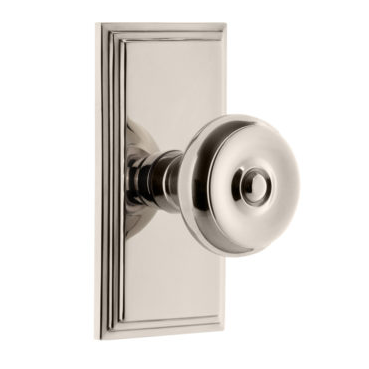Grandeur Bouton Door Knob Set with Carre Rose in Polished Nickel