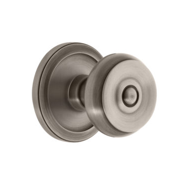 Grandeur Bouton Door Knob with Circulaire Rose Antique Pewter