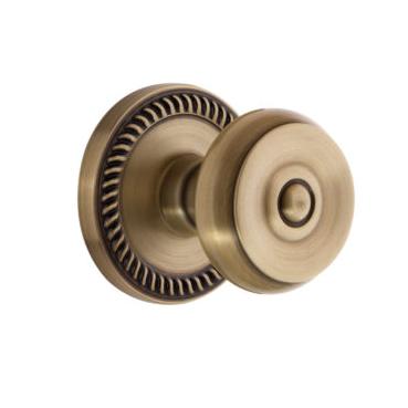 Grandeur Bouton Door Knob with Newport Rose Vintage Brass