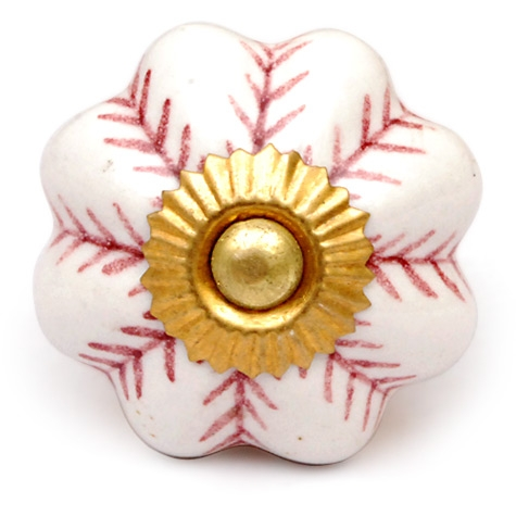 PotteryVille White Ceramic Knob with Maroon Accents