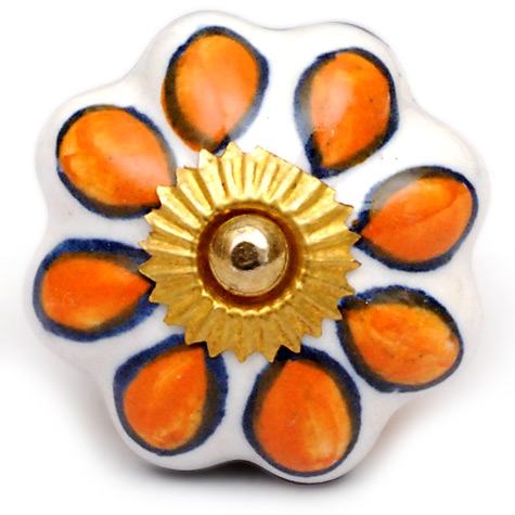 PotteryVille Yellowish-Brown and Blue Flower on a White Ceramic Knob