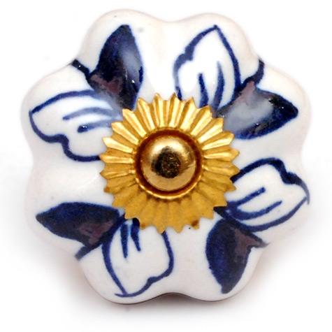 PotteryVille Blue Design on a White Ceramic Cabinet Knob
