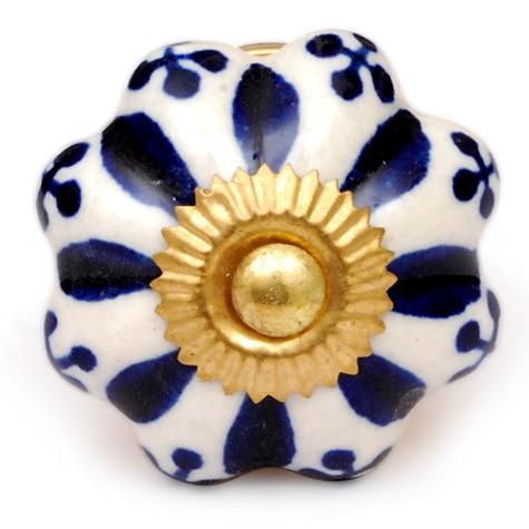 PotteryVille Blue Floral Design on a White Cabinet Knob