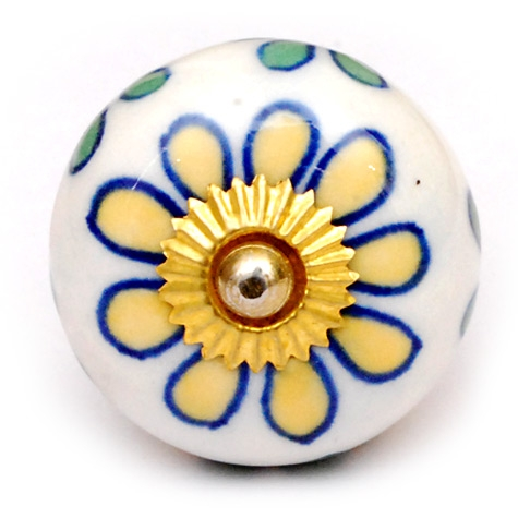 PotteryVille Yellow, lime green and Blue Line Cabinet knob