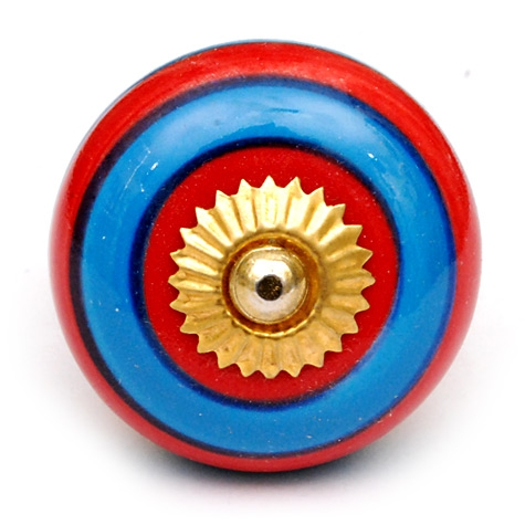 PotteryVille Blue and Red Circular-Striped Ceramic Knob