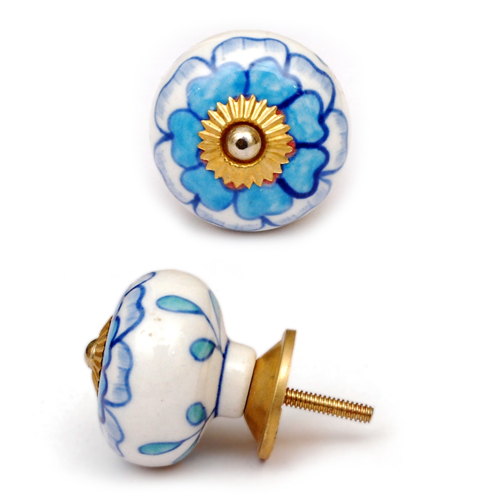 PotteryVille Turquoise Flower on a White Ceramic Knob