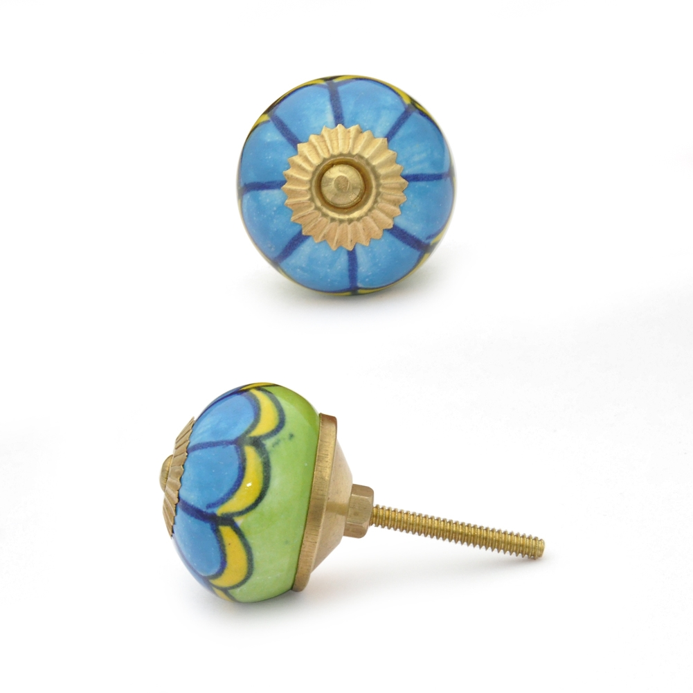 PotteryVille Turquoise and Green with line design Cabinet knob
