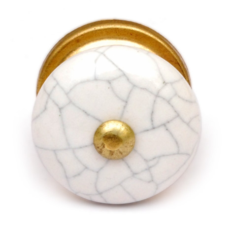Potteryville Cracked White Ceramic Cabinet Knob