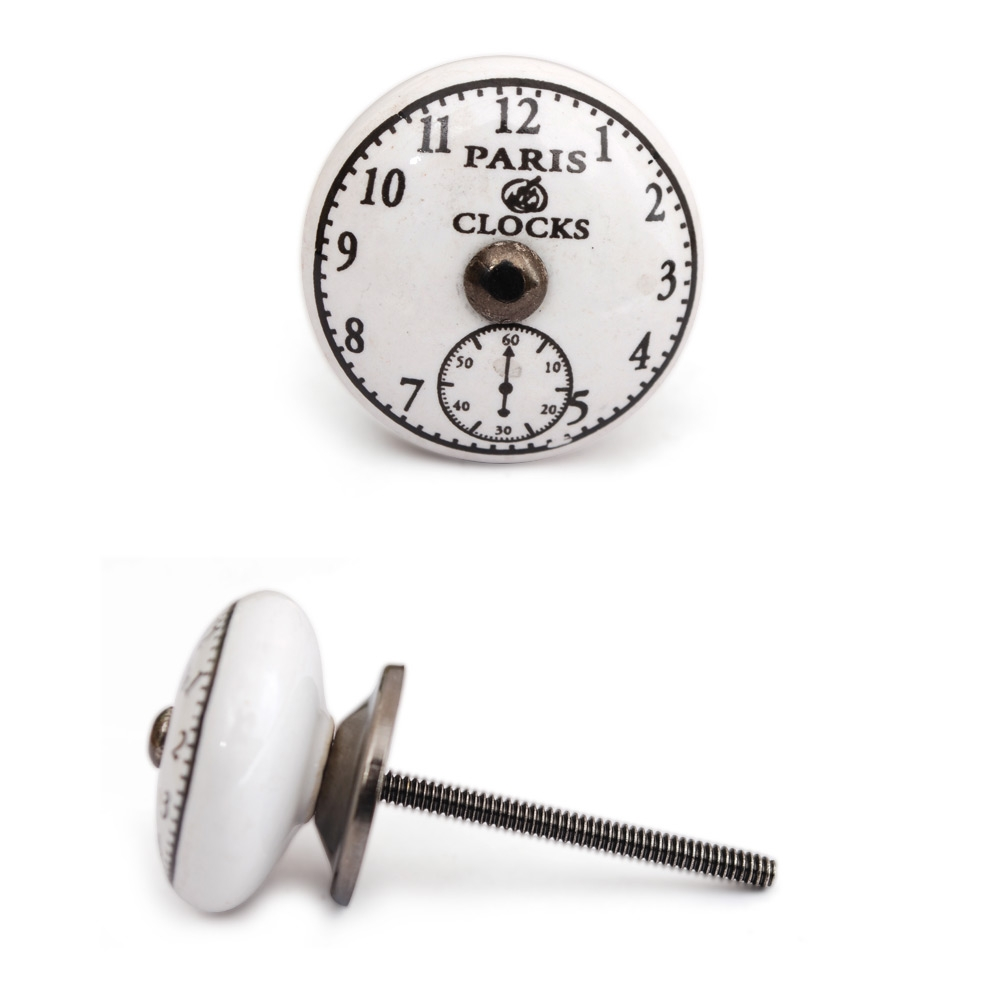 PotteryVille Black Clock on White Ceramic Cabinet Knob