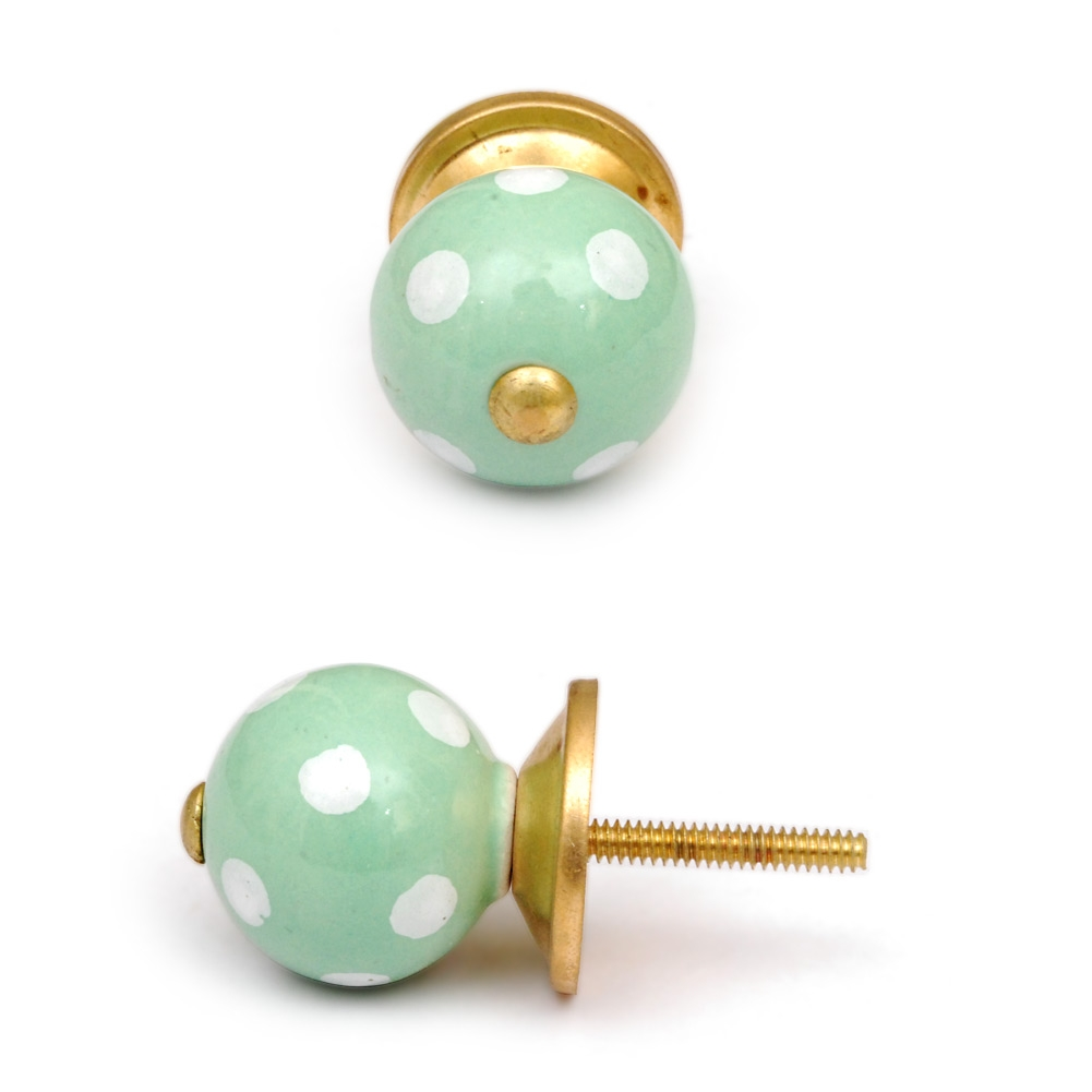Potteryville Light Green Cabinet Knob with White Polka-Dots