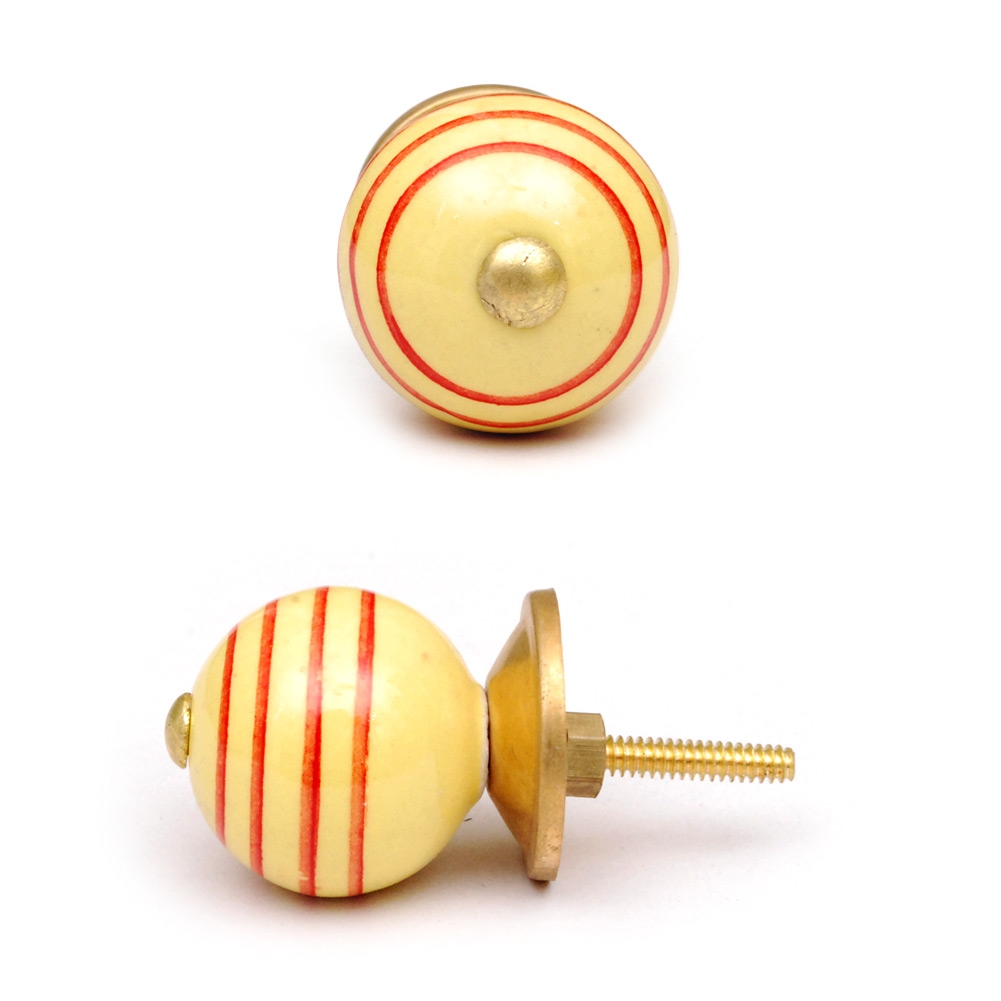 PotteryVille Yellowish-Brown and Red Circular-Striped Ceramic Knob
