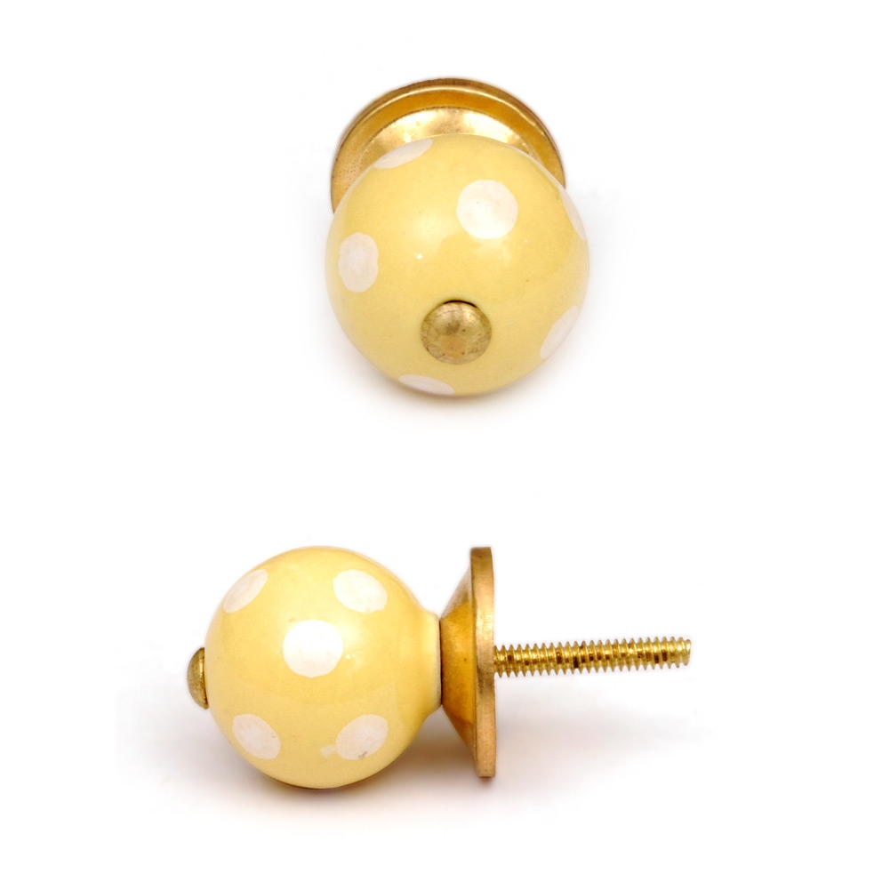 PotteryVille Yellowish-Cream Colored Ceramic Knob with Polka-Dots