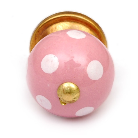 Potteryville Pink Ceramic Cabinet Knob with White Polka-Dots