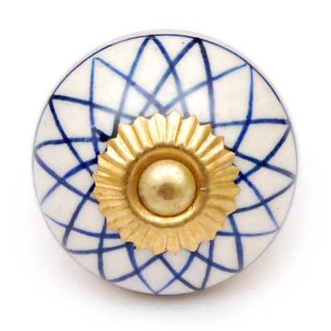 PotteryVille Blue Geometric Pattern on a White Ceramic Knob