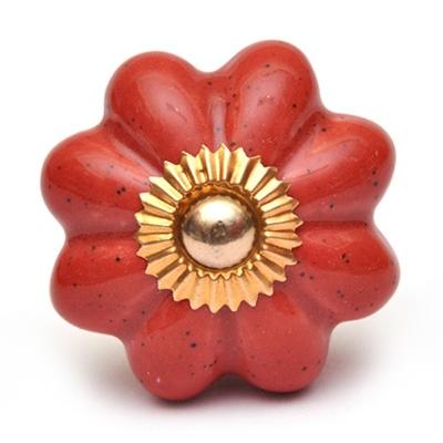 PotteryVille Redish-Brown Flower Cabinet knob