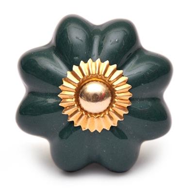 Potteryville Dark Green Flower Cabinet Knob