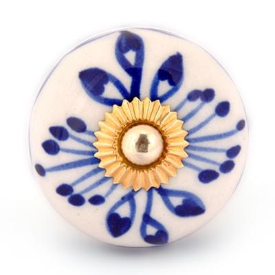 PotteryVille Blue Design with White Base Cabinet knob