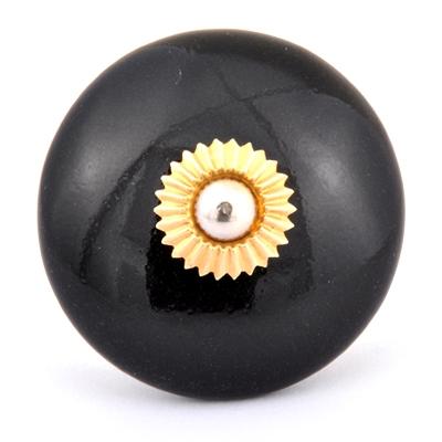 PotteryVille Black Ceramic Cabinet Knob (Big)