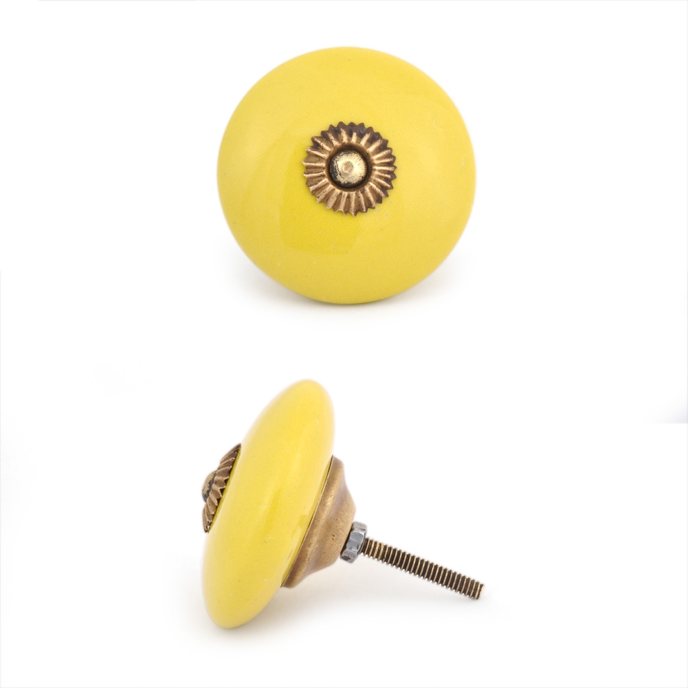 PotteryVille Yellow Cabinet knob