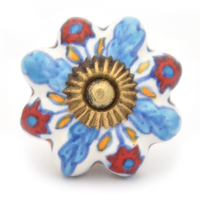 PotteryVille Turquoise leaf and Red flower with white base ceramic cabinet knob