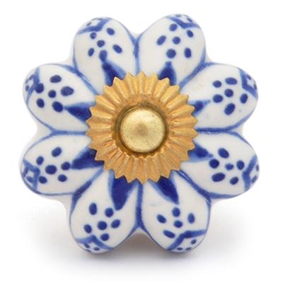 PotteryVille Blue design with white base ceramic knob 01