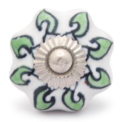 Potteryville Green leaf with white base ceramic knob