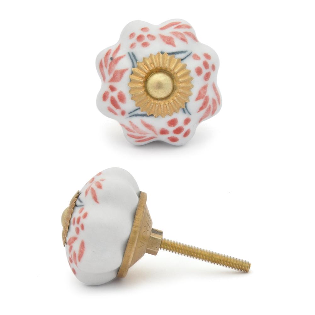 Potteryville Brown design with white base ceramic knob