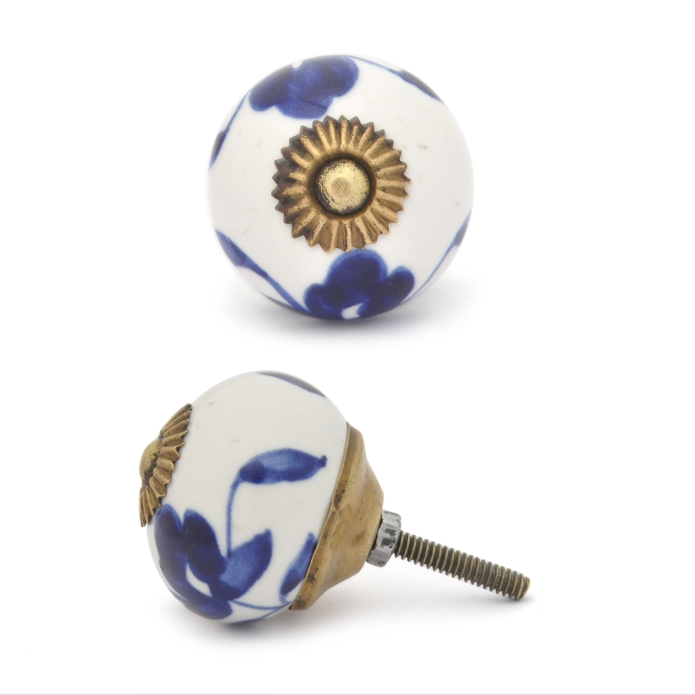 PotteryVille Blue flower and Blue leaf with white base ceramic knob