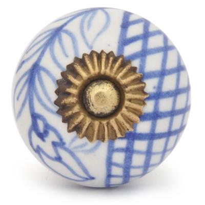 PotteryVille Blue design with white base ceramic knob 03
