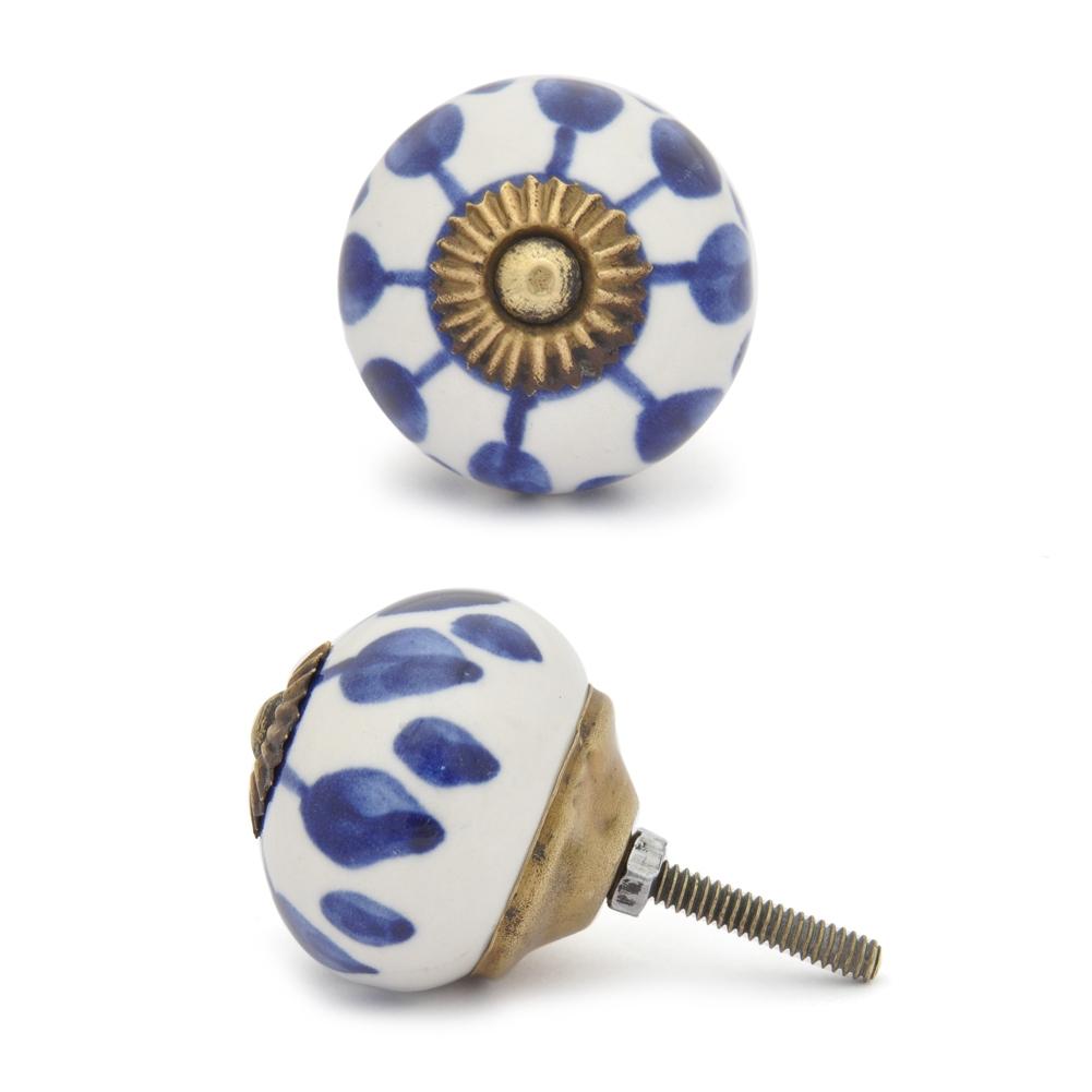 PotteryVille Blue design with white base ceramic knob 04