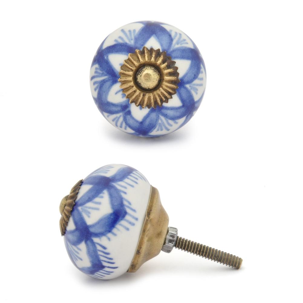 PotteryVille Blue design with white base ceramic cabinet knob 05