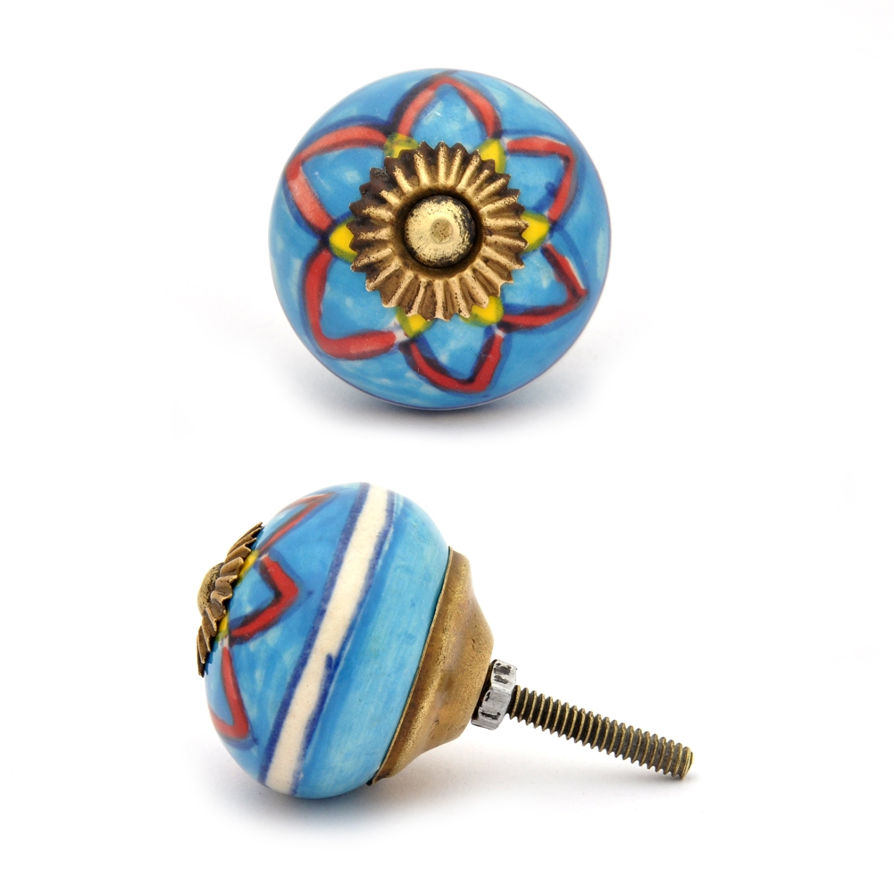 PotteryVille Red and Yellow design with Turquoise base ceramic Cabinet knob