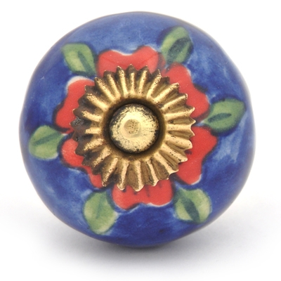 PotteryVille Red flower and Green leaf with Blue base ceramic Cabinet knob