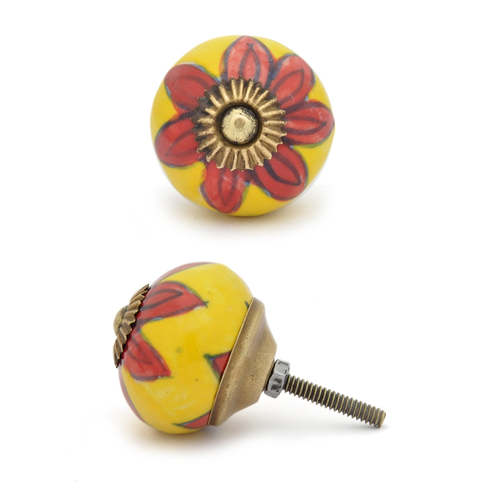 PotteryVille Red flower with Yellow base ceramic Cabinet knob