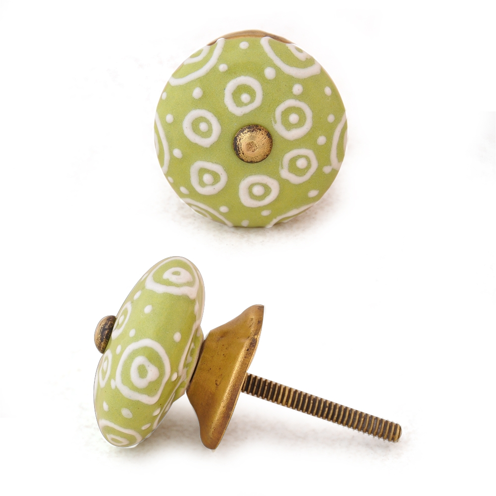 PotteryVille White design with Lime green base ceramic knob
