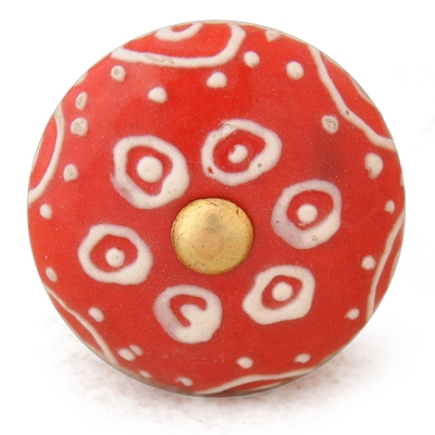 PotteryVille White design with Red base ceramic knob
