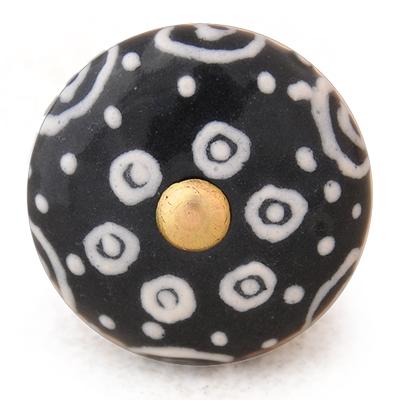 PotteryVille White design with Black base ceramic knob