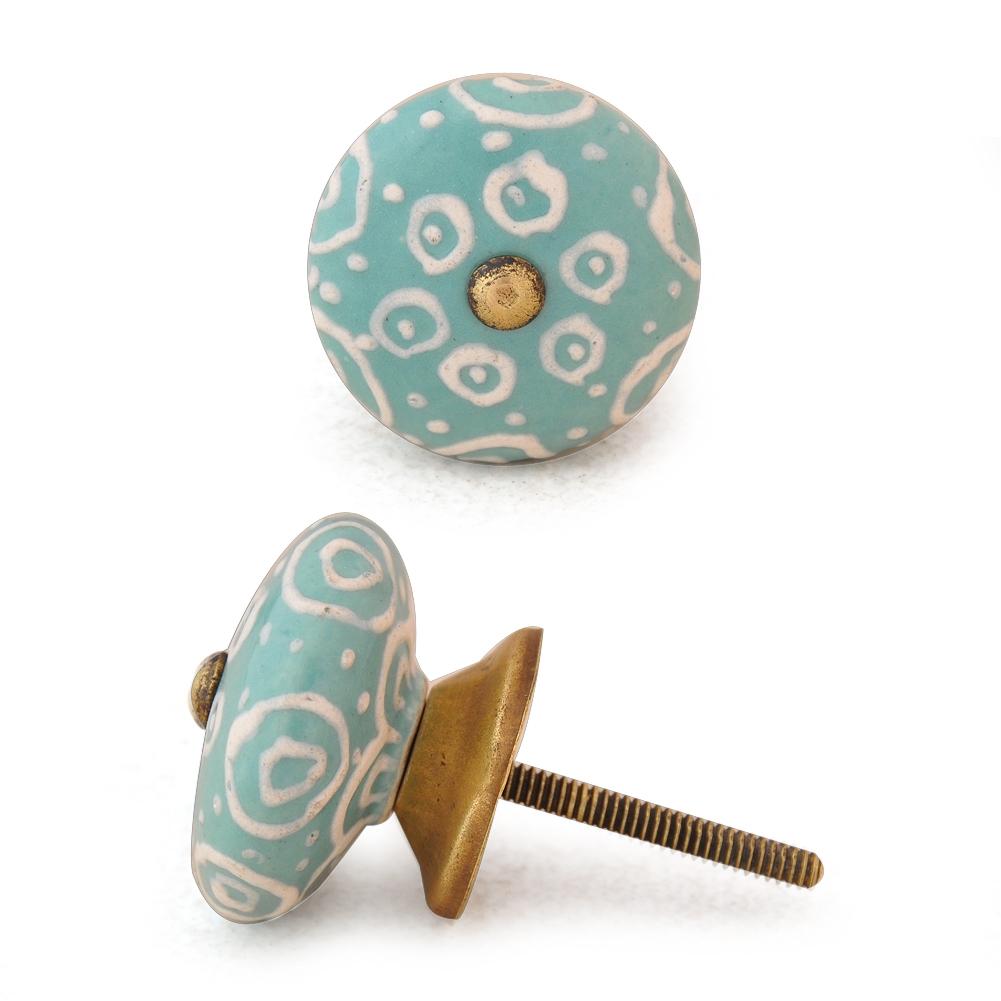 PotteryVille White design with Dark Sea Green base ceramic knob