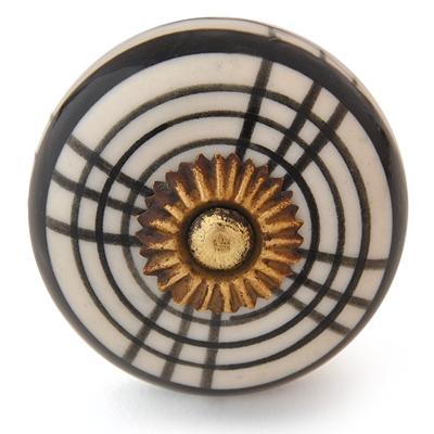 PotteryVille Black design White Ceramic Knob
