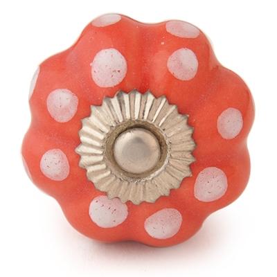 PotteryVille White Dots with Dark Salmon Ceramic knob