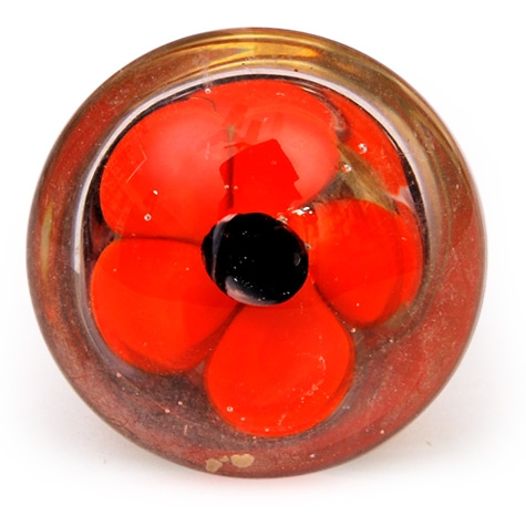 PotteryVille Red Flower with Black Center Glass Knob