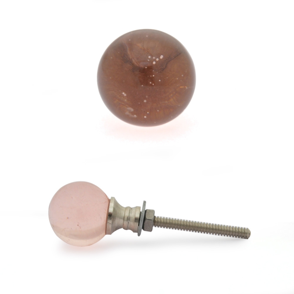 PotteryVille Pink Glass Magic Crystal Ball Style Knob