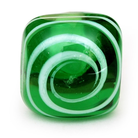 PotteryVille White Swirl on a Green Glass Knob