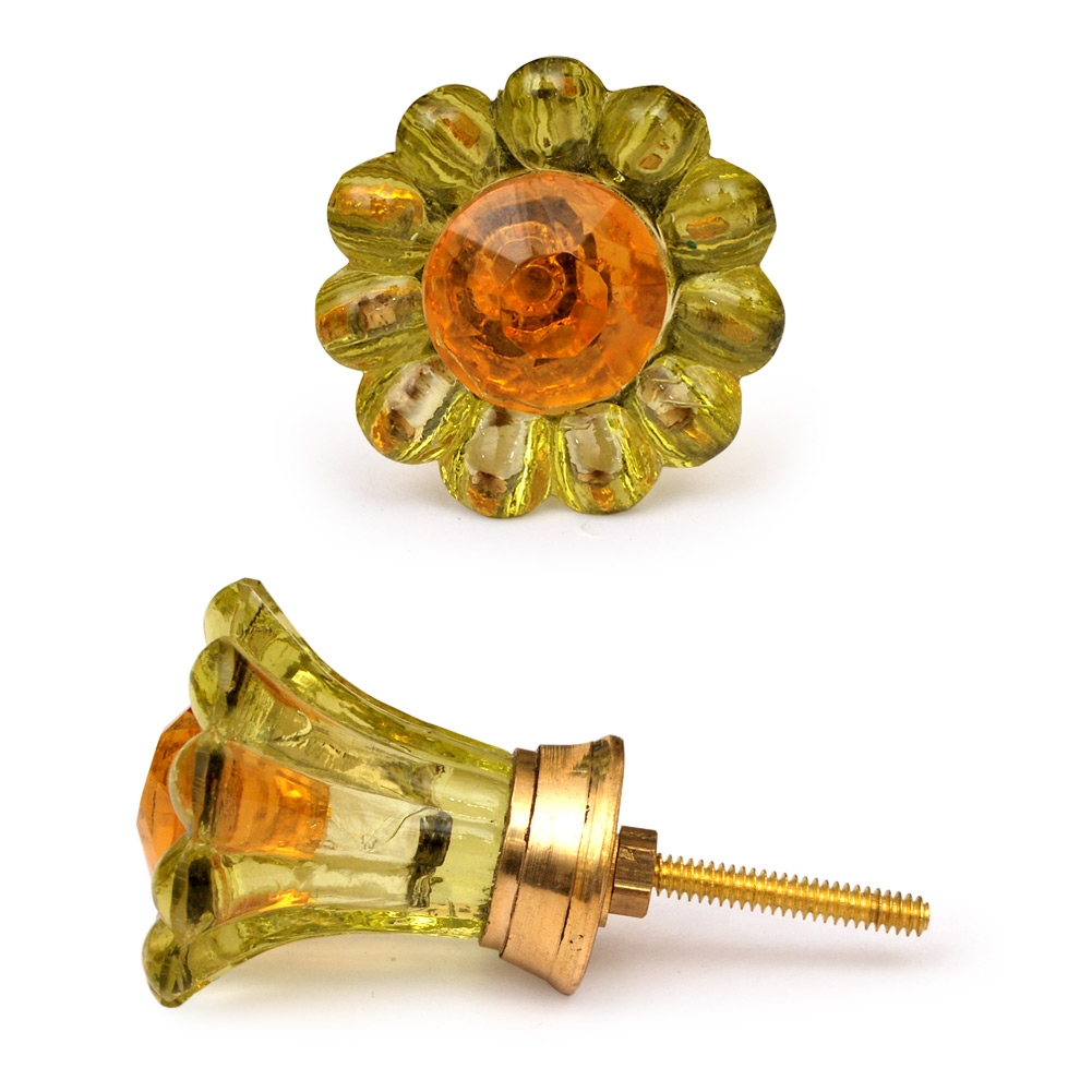PotteryVille Green Glass Knob with Orange Diamond-Cut Center