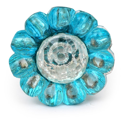 BBlue Glass Flower Cabinet Knob with Clear Diamond-Cut Center