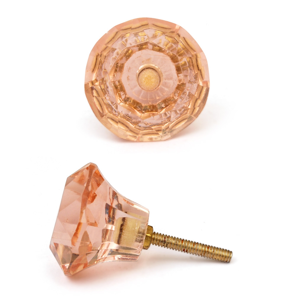 PotteryVille Pink Glass Diamond-Cut Mushroom Knob