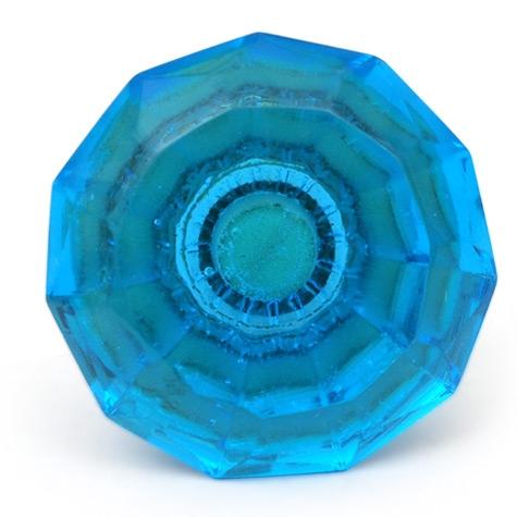 PotteryVille Blue Glass Diamond-Cut Mushroom Knob