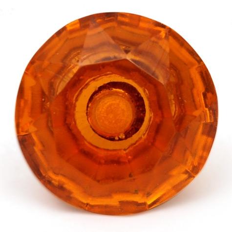 PotteryVille Orange Glass Diamond-Cut Mushroom Knob